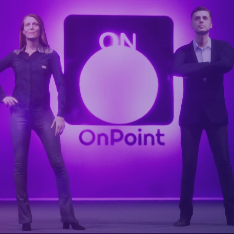 Screenshot of Maren and Oliver standing in the virtual mocap studio