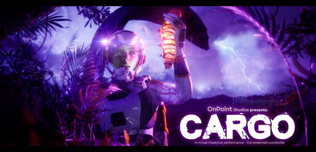 Keyart of CARGO showing the actor holding a caterpillar in her hand